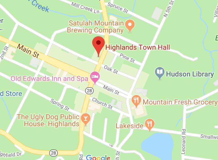 Town of Highlands, NC - GIS Maps Cashiers Nc Map on